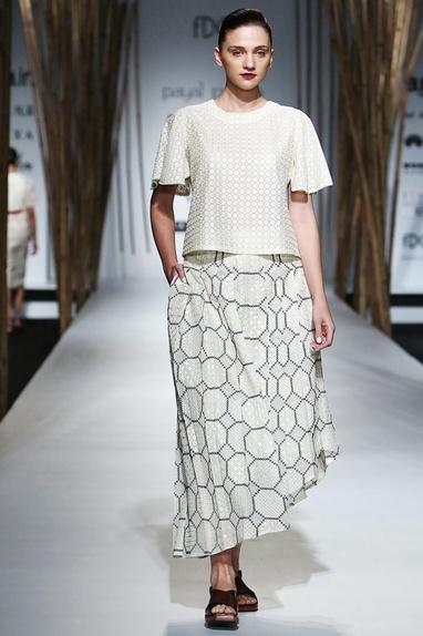 White & blue pleated skirt