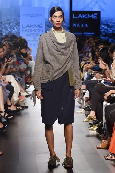 Navy blue khadi skirt