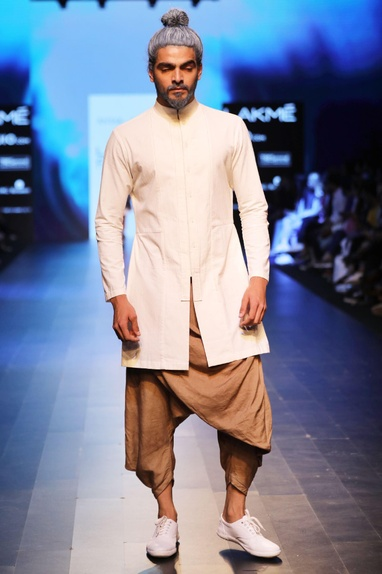 Sand brown draped dhoti pants