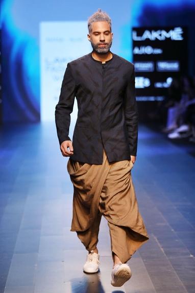 Sand brown dhoti pants with drape