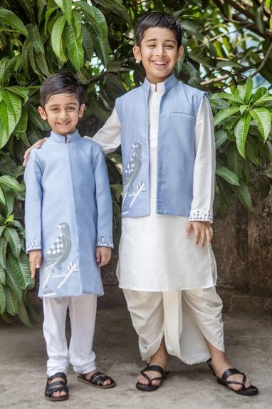 Scabiosa blue jacket & white dhoti set