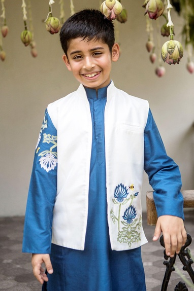 Aegean blue kurta, jacket & churidar set