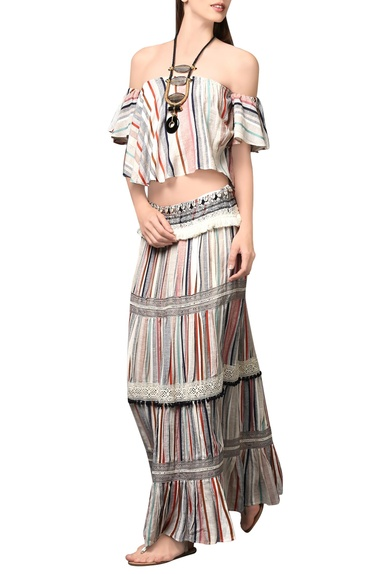 Multi-colored striped skirt & top