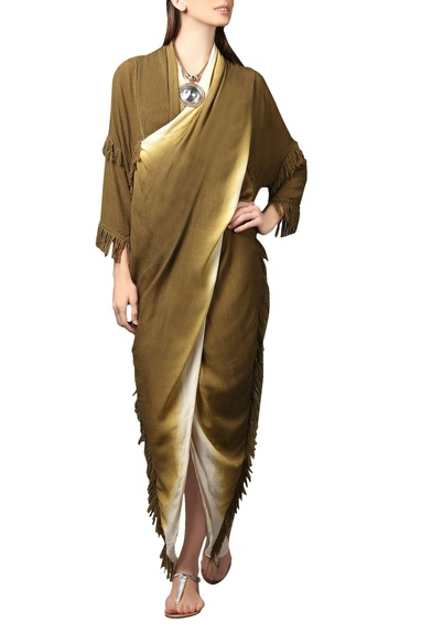 Olive green & white fringed kaftan