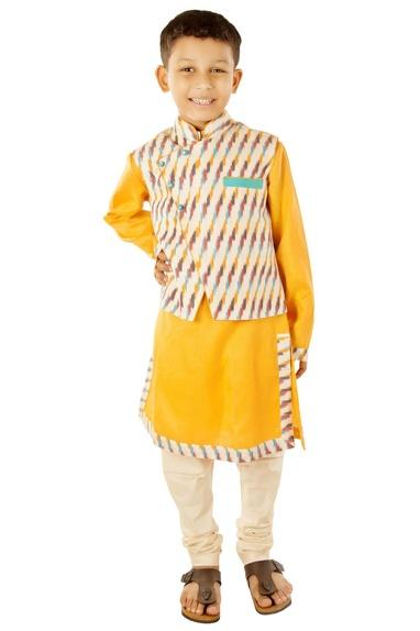 Mango yellow kurta with ikkat jacket & churidar