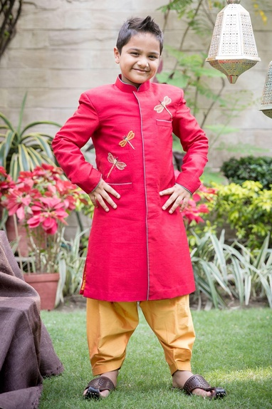 Red dragon fly sherwani with mustard patiala
