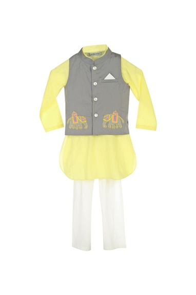 Pastel yellow kurta with churidar & grey jacket