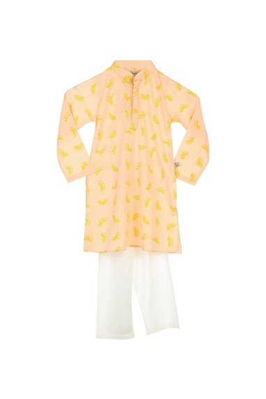 Peach lemon print kurta & pyjamas
