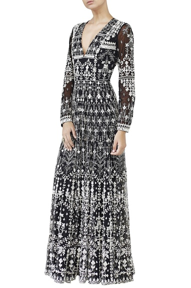 Black embroidred mirror work gown