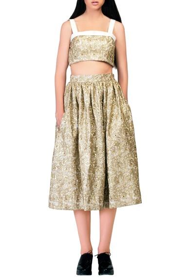 Gold embroidered midi skirt.