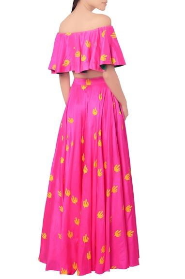 Pink cacti print lehenga & blouse