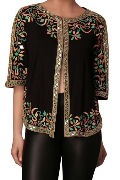 Black knit emboridered jacket cape