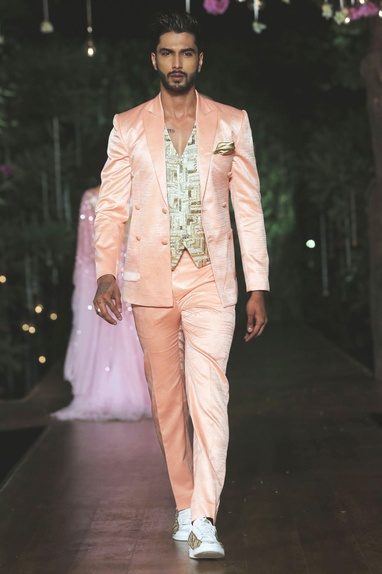 Peach double-breasted jacket with trousers
