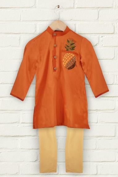 Orange pineapple motif kurta