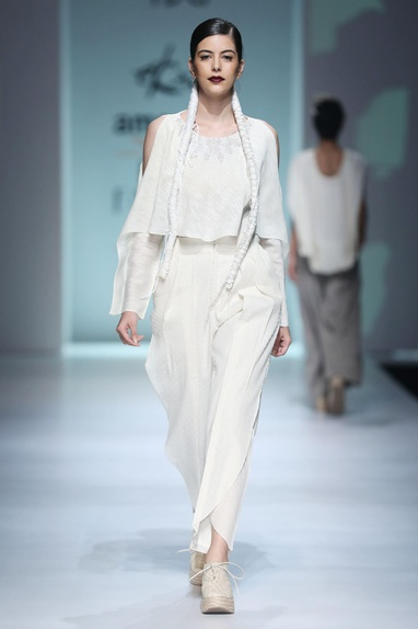 White embroidered top & pleated trousers