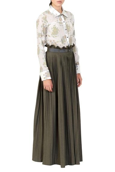 White floral shirt & green maxi skirt