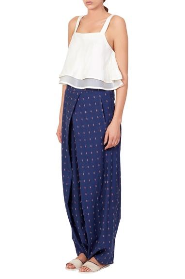 White top & blue printed pants