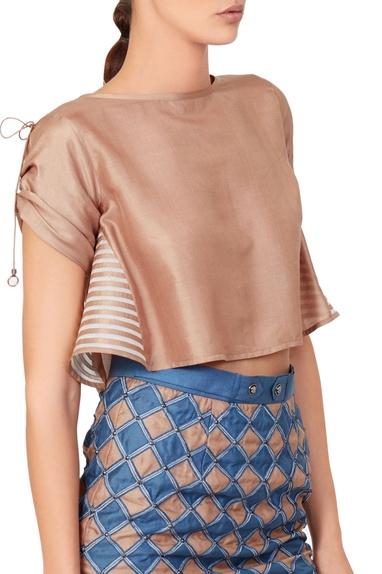 Blue & beige check skirt & top