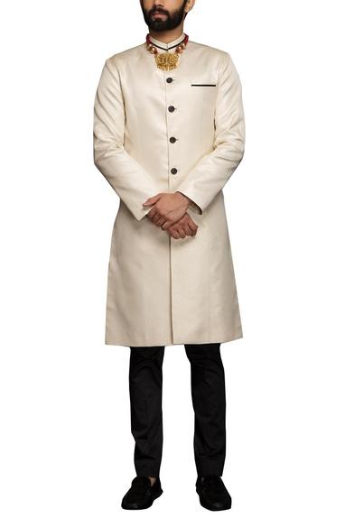 White metallic white sherwani