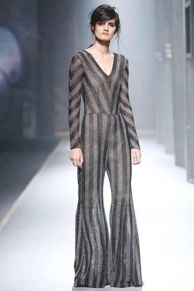 Grey stripe mesh jumpsuit
