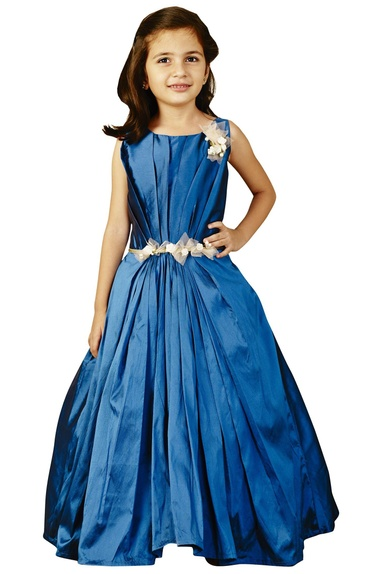 Blue pleated gown with sash
