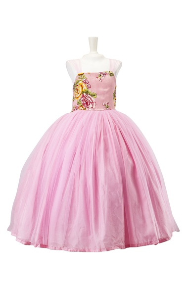 Pink floral flower-girl gown