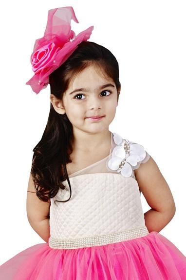 White & pink flared one-shoulder dress