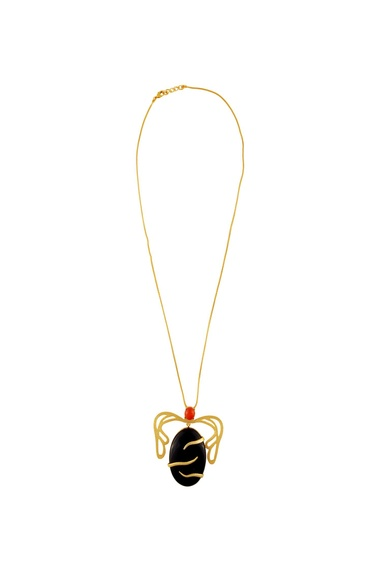 Black onyx flame pendant necklace