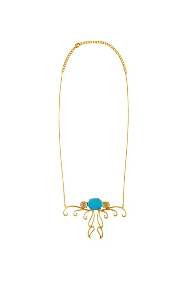 Gold plated turquoise pendant necklace
