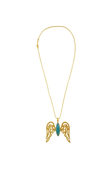 Gold plated wing pendant necklace