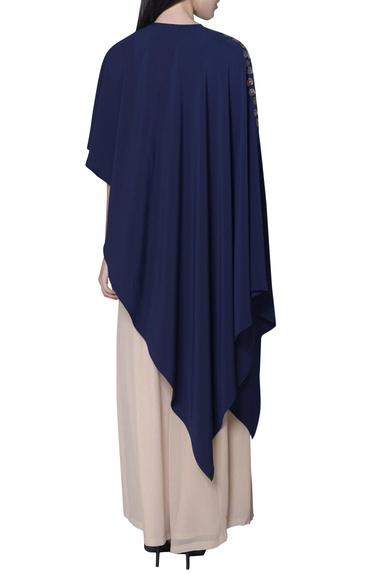 Navy blue asymmetric embellished cape