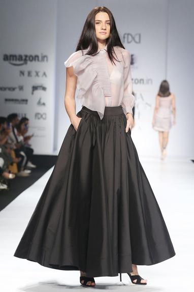 Black super flared maxi skirt