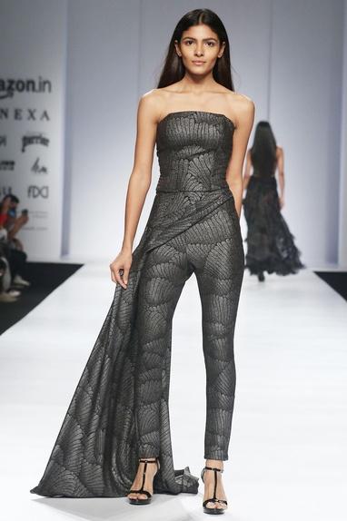 Metallic grey corset & drape trousers