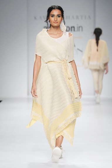 White & yellow embroidered cape & dress