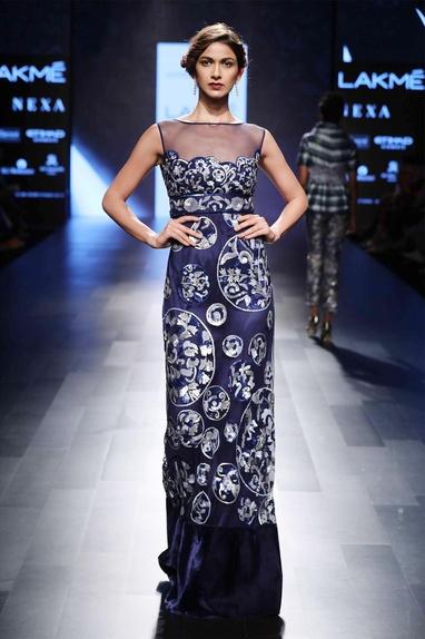 Blue sequin embellished gown