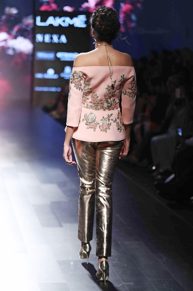 Rose pink embroidered jacket with pants