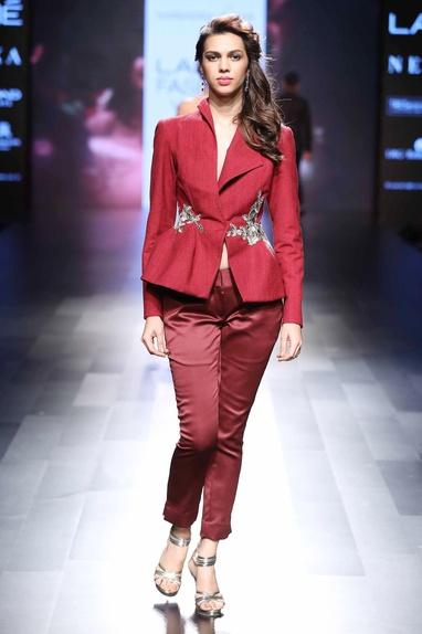 Red peplum style jacket & pants