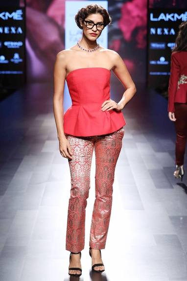 Red strapless bustier top & pants