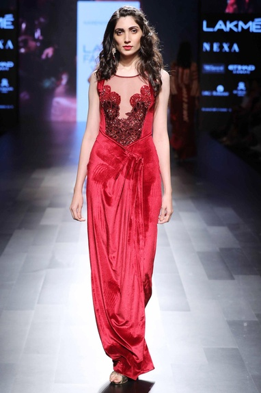 Red applique embroidered gown