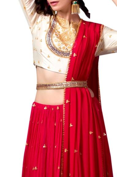 Red silk lehenga with belt