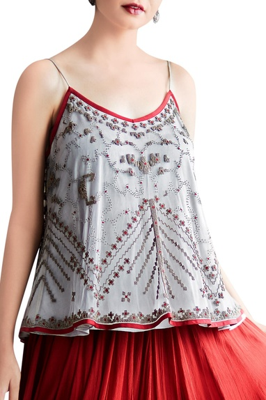 Red bead embroidered skirt & top