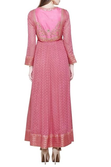 Dark coral pink anarkali set