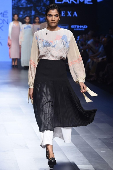 White embroidered top & pleated skirt
