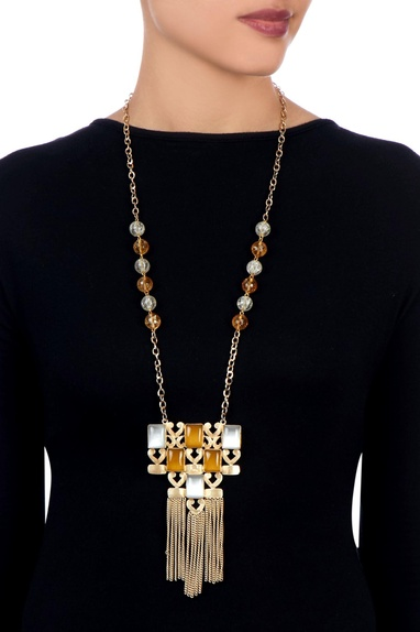 Yellow & gold kundan necklace