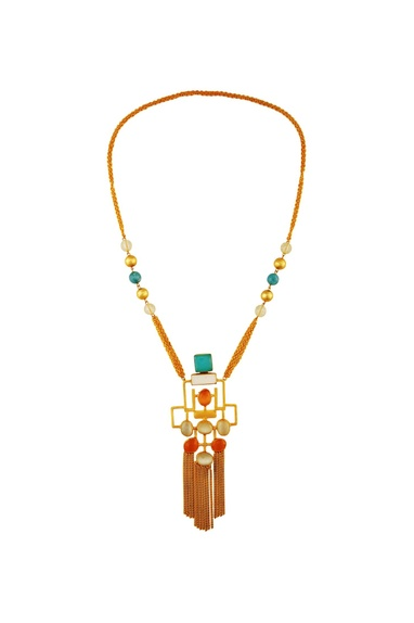Multicolored gold plated necklace