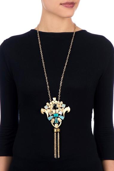 Black & blue kundan work necklace