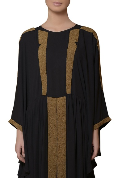 Black hand embroidered kaftan