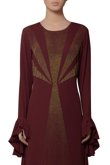 Burgundy brown gown with ruffle sleeves