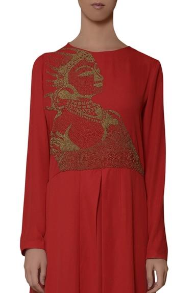 Red hand embroidered kurta