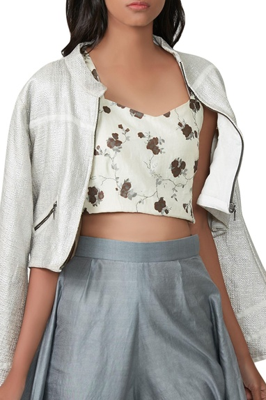 White crop top with jacket & flared pants